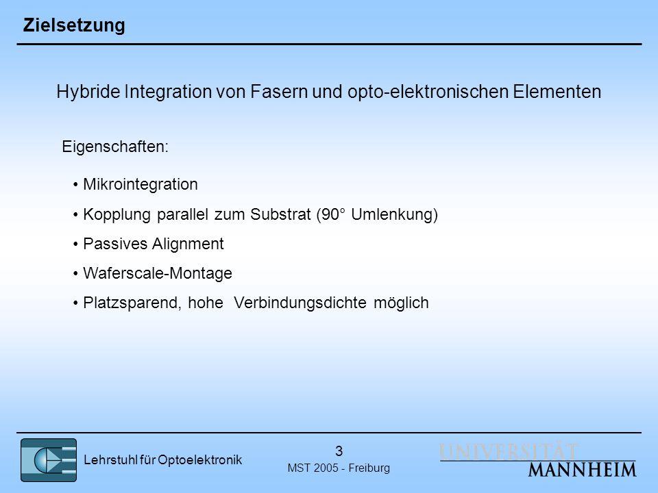Lehrstuhl für Optoelektronik MST 2005 - Freiburg 3 Zielsetzung Hybride Integration von Fasern und opto-elektronischen Elementen Eigenschaften: Mikroin