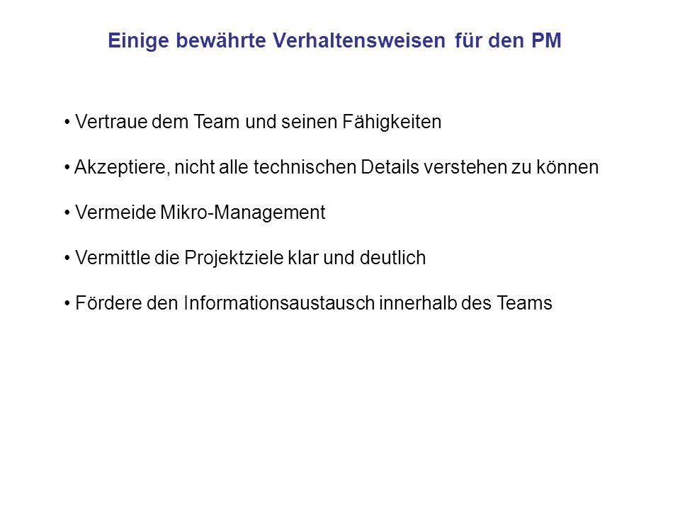 Einige bewährte Verhaltensweisen für den PM Vertraue dem Team und seinen Fähigkeiten Akzeptiere, nicht alle technischen Details verstehen zu können Ve