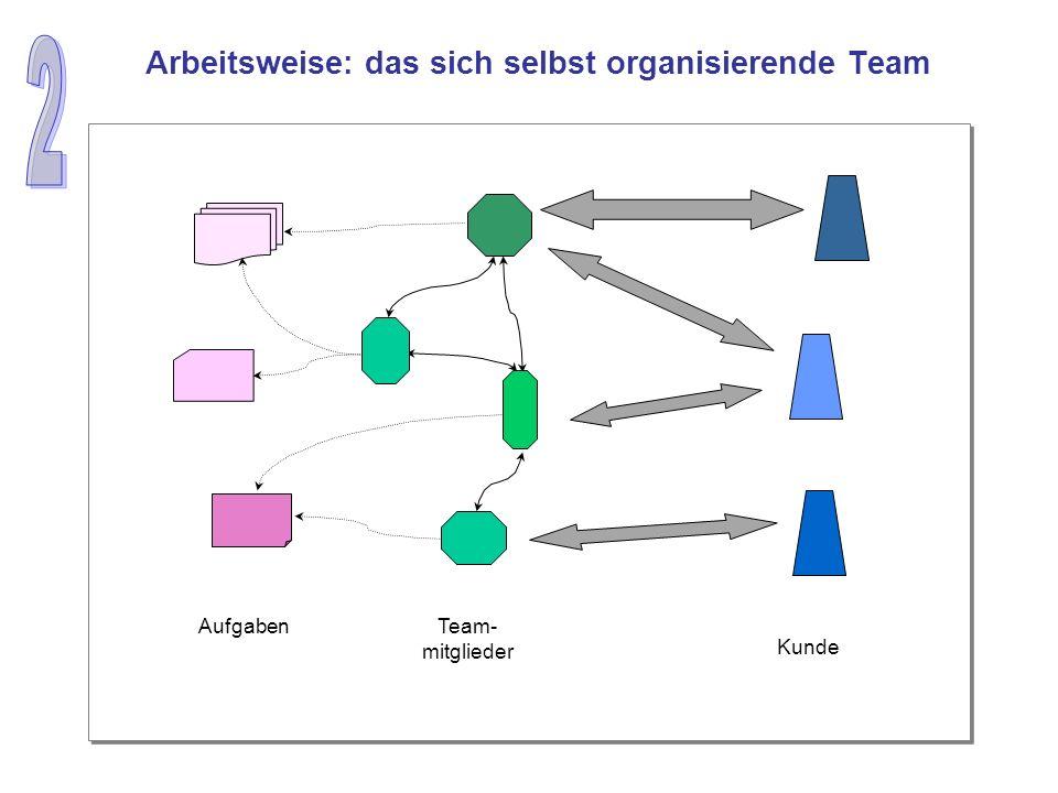 Kunde Team- mitglieder Aufgaben Arbeitsweise: das sich selbst organisierende Team