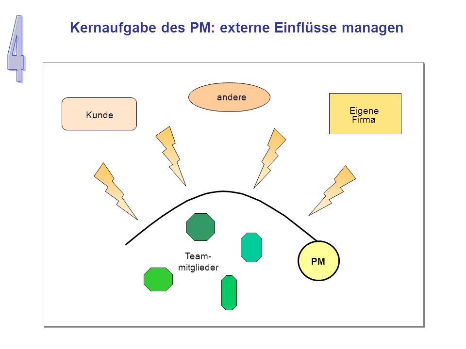 PM Kunde andere Eigene Firma Team- mitglieder Kernaufgabe des PM: externe Einflüsse managen