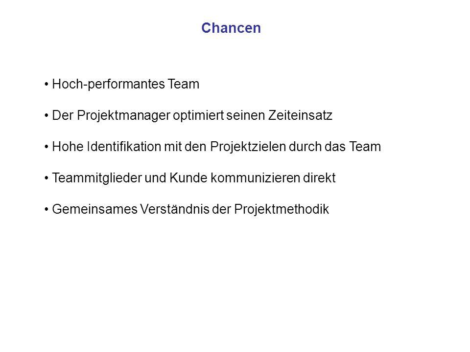 Chancen Hoch-performantes Team Der Projektmanager optimiert seinen Zeiteinsatz Hohe Identifikation mit den Projektzielen durch das Team Teammitglieder