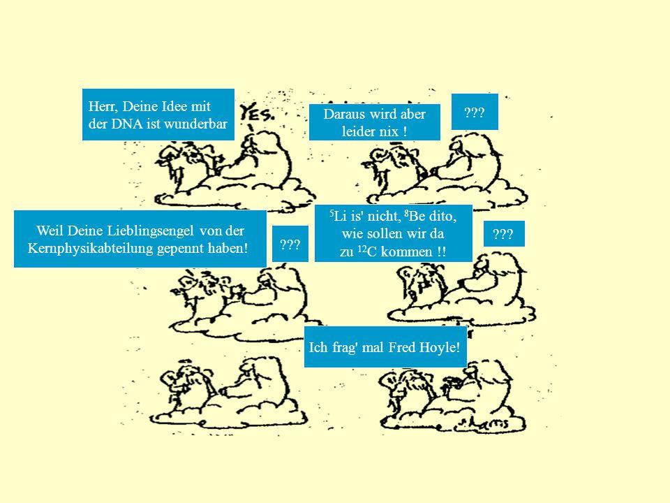 Fred Das eigentlich größte Wunder – oder Fred Hoyles Traum im Jahr 1954 vom angeregten 12 C –Zustand: 3 4 He- Kerne, für 10 -16 s zusammen könnten in Energie und allen Quanten- zahlen einem angeregten Zustand des 12 C-Kerns bei 7.3 MeV entsprechen .