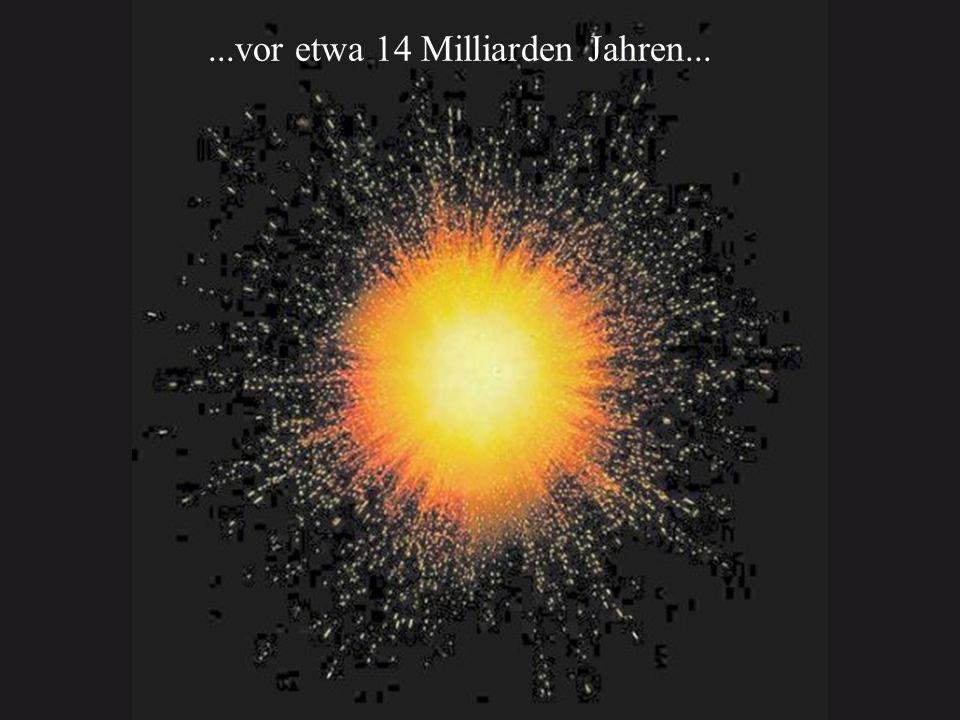 Das Universum ist am Anfang unvorstellbar klein und heiß Das Produkt aus Größe (R) und Temperatur (T) ist konstant Teilchen und ihre Antiteilchen entstehen fortlaufend aus Strahlung und vernichten sich gegenseitig solange die Energie der Strahlung (= thermische Energie kT) größer als zweimal die Ruheenergie des Teilchens ist Proton und Neutron im thermischen Gleichgewicht : T > 10 Milliarden Grad Protonen werden zu Neutronen: p Neutron + Positron + Neutrino - Energie (aus der heißen Umgebung) Neutronen werden zu Protonen: n Proton + Elektron + Antineutrino + Energie