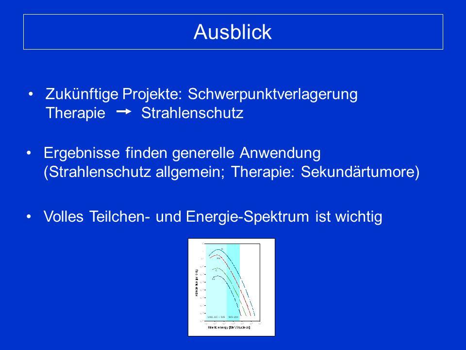 Ausblick Zukünftige Projekte: Schwerpunktverlagerung Therapie Strahlenschutz Ergebnisse finden generelle Anwendung (Strahlenschutz allgemein; Therapie: Sekundärtumore) Volles Teilchen- und Energie-Spektrum ist wichtig