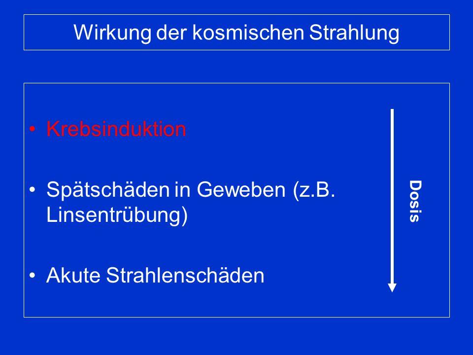 Teilchen- und Energiespektrum Kinetische Energie [MeV/u] Teilchenfluenz Zusammensetzung der galaktischen kosmischen Strahlung