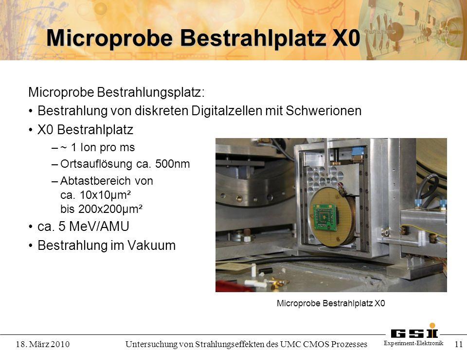 Experiment-Elektronik 18. März 2010Untersuchung von Strahlungseffekten des UMC CMOS Prozesses 11 Microprobe Bestrahlplatz X0 Microprobe Bestrahlungspl