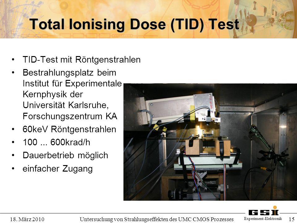 Experiment-Elektronik 18. März 2010Untersuchung von Strahlungseffekten des UMC CMOS Prozesses 15 Total Ionising Dose (TID) Test TID-Test mit Röntgenst