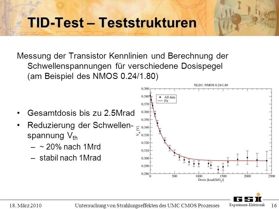 Experiment-Elektronik 18. März 2010Untersuchung von Strahlungseffekten des UMC CMOS Prozesses 16 TID-Test – Teststrukturen Messung der Transistor Kenn