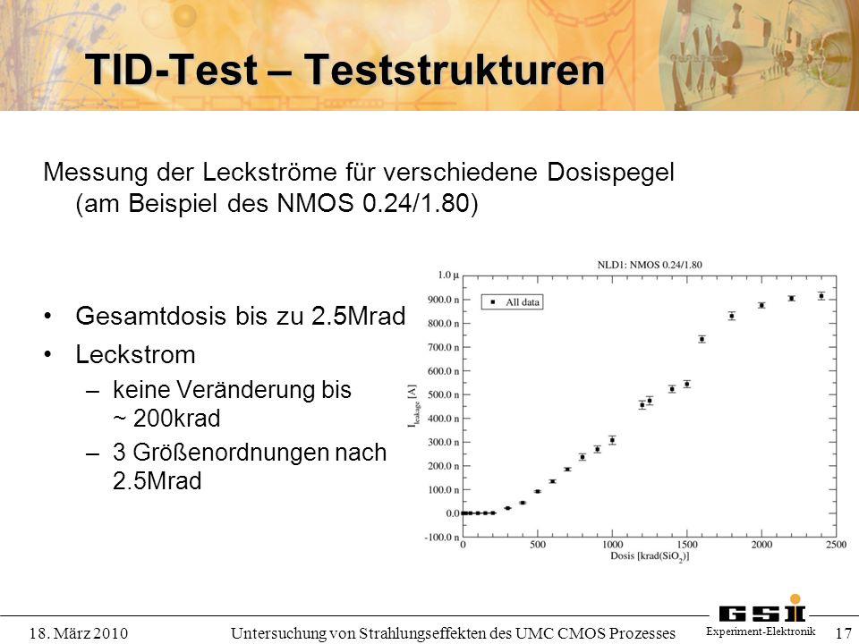 Experiment-Elektronik 18. März 2010Untersuchung von Strahlungseffekten des UMC CMOS Prozesses 17 TID-Test – Teststrukturen Messung der Leckströme für