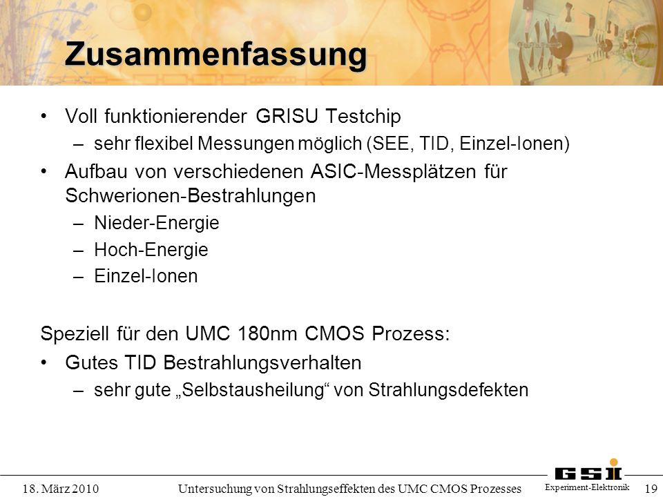 Experiment-Elektronik 18. März 2010Untersuchung von Strahlungseffekten des UMC CMOS Prozesses 19 Zusammenfassung Voll funktionierender GRISU Testchip