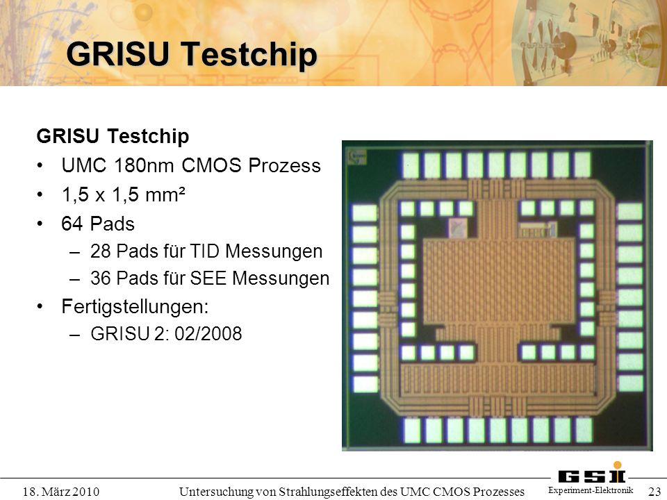 Experiment-Elektronik 18. März 2010Untersuchung von Strahlungseffekten des UMC CMOS Prozesses 23 GRISU Testchip UMC 180nm CMOS Prozess 1,5 x 1,5 mm² 6
