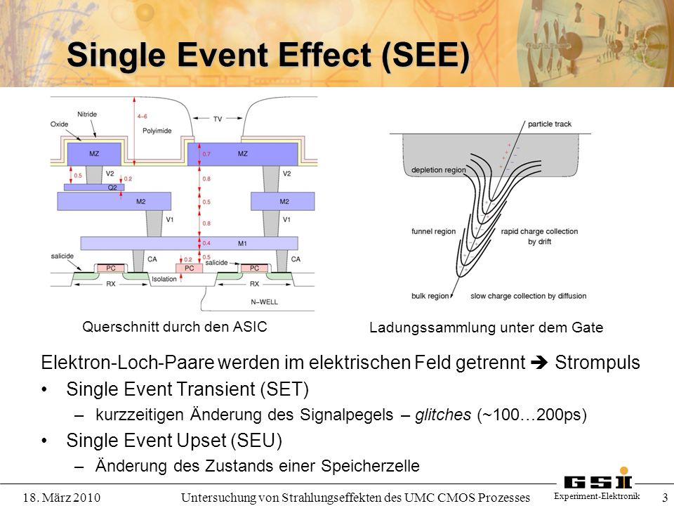 Experiment-Elektronik 18. März 2010Untersuchung von Strahlungseffekten des UMC CMOS Prozesses 3 Single Event Effect (SEE) Elektron-Loch-Paare werden i