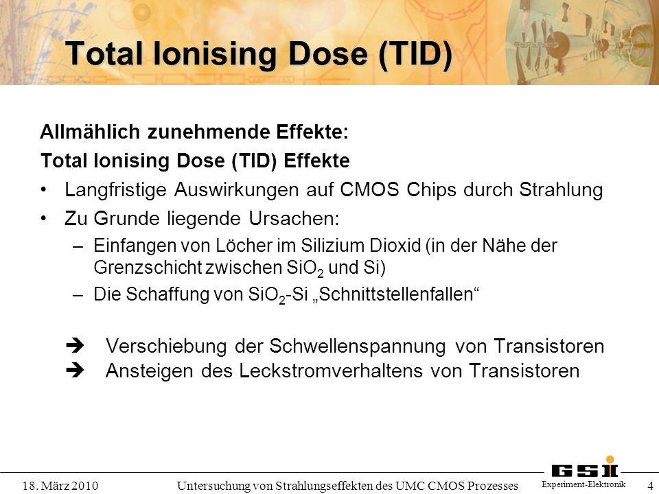 Experiment-Elektronik 18. März 2010Untersuchung von Strahlungseffekten des UMC CMOS Prozesses 4 Total Ionising Dose (TID) Allmählich zunehmende Effekt