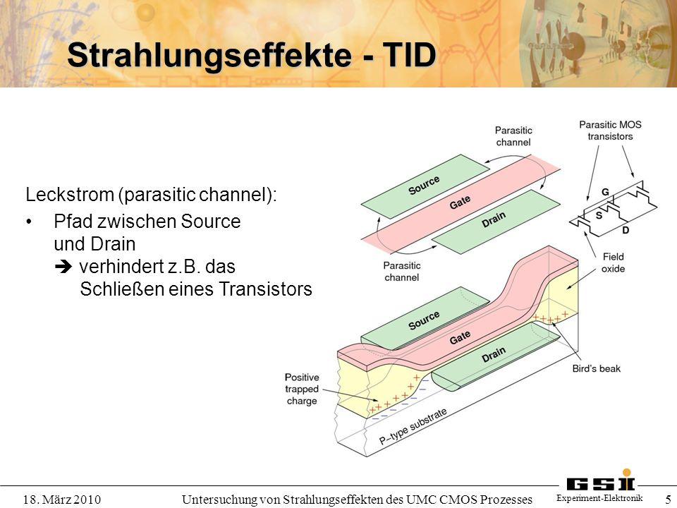 Experiment-Elektronik 18. März 2010Untersuchung von Strahlungseffekten des UMC CMOS Prozesses 5 Strahlungseffekte - TID Leckstrom (parasitic channel):