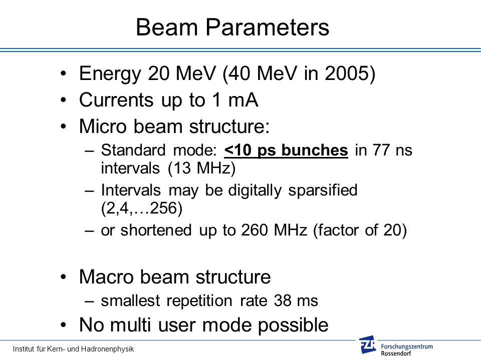 Institut für Kern- und Hadronenphysik Beam Parameters Energy 20 MeV (40 MeV in 2005) Currents up to 1 mA Micro beam structure: –Standard mode: <10 ps