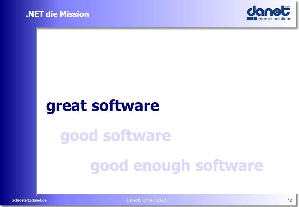 schroeter@danet.deDanet IS GmbH, GS-ES12.NET die Mission Empower people through great software, any time, any good software good enough software