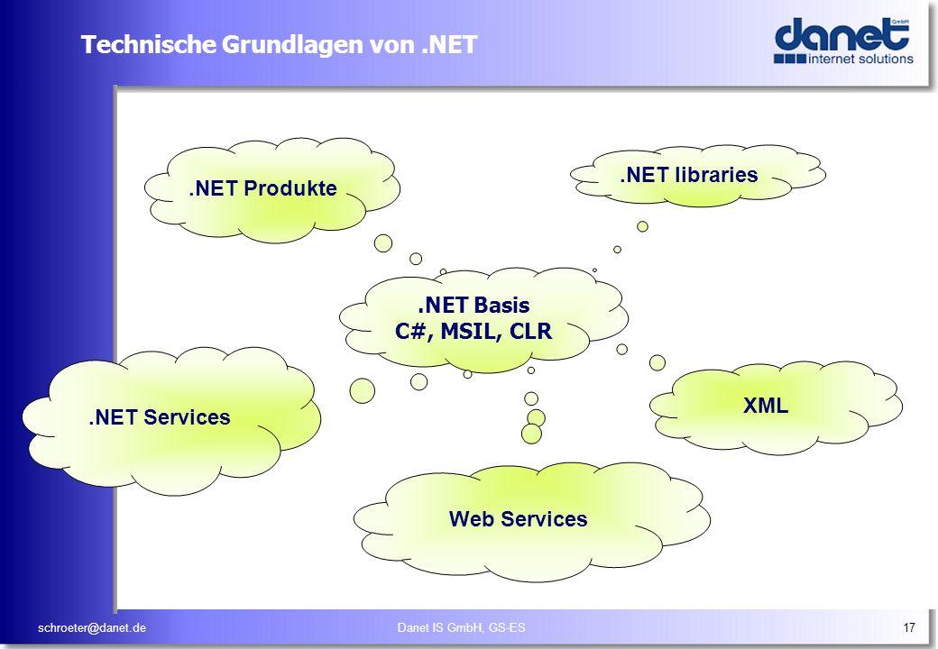 schroeter@danet.deDanet IS GmbH, GS-ES17 Technische Grundlagen von.NET.NET libraries XML.NET Produkte.NET Basis C#, MSIL, CLR.NET Services Web Service