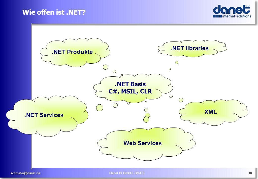 schroeter@danet.deDanet IS GmbH, GS-ES18 Wie offen ist.NET?.NET libraries XML.NET Produkte.NET Basis C#, MSIL, CLR.NET Services Web Services