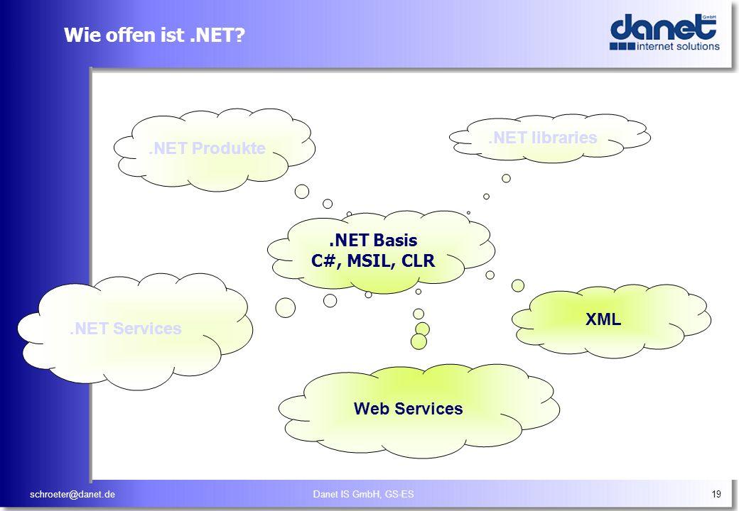schroeter@danet.deDanet IS GmbH, GS-ES19 Wie offen ist.NET?.NET libraries XML.NET Produkte.NET Basis C#, MSIL, CLR.NET Services Web Services