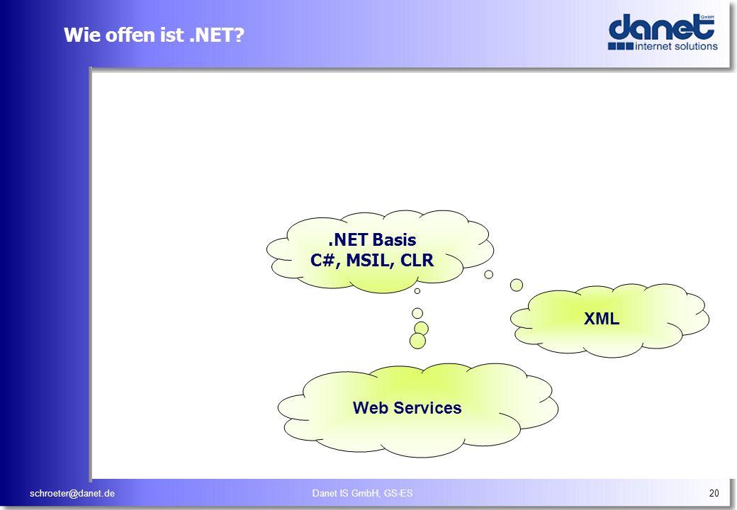 schroeter@danet.deDanet IS GmbH, GS-ES20 Wie offen ist.NET? XML.NET Basis C#, MSIL, CLR Web Services