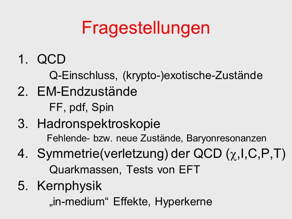 1.QCD Q-Einschluss, (krypto-)exotische-Zustände 2.EM-Endzustände FF, pdf, Spin 3.Hadronspektroskopie Fehlende- bzw.