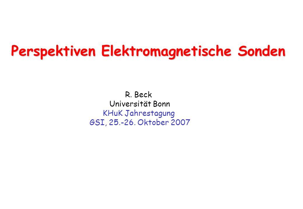 Perspektiven Elektromagnetische Sonden R. Beck Universität Bonn KHuK Jahrestagung GSI, 25.-26. Oktober 2007