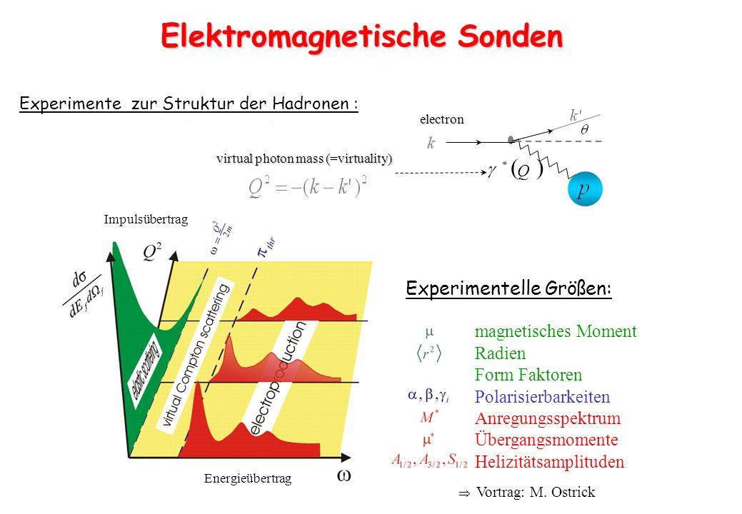 Experimente zur Struktur der Hadronen : virtual photon mass (=virtuality) electron Q Experimentelle Größen: Elektromagnetische Sonden magnetisches Mom