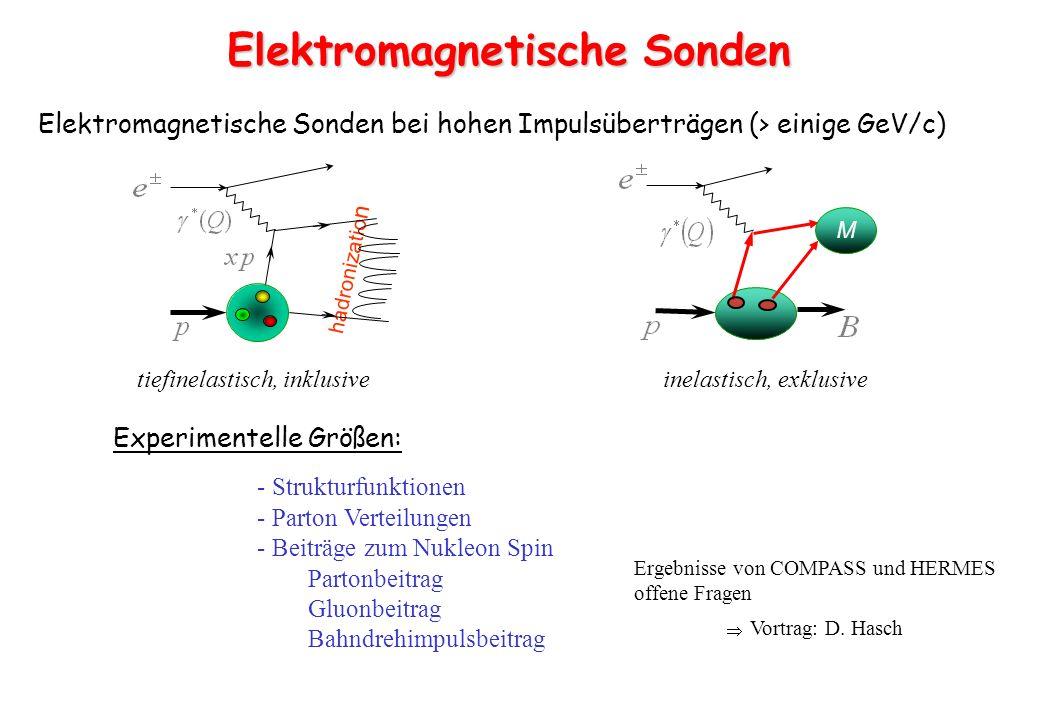 e+e+ e-e- p p e-e- e-e- p Elektromagnetische Sonden Elektron punktförmig - sehr gut verstandene WW - schwach wechselwirkende Sonde - präziser Energie- und Impulsübertrag - große Strahlpolarisationen - kleine Wirkungsquerschnitte - hohe Luminositäten notwendig Proton ausgedehnt - stark wechselwirkende Sonde - Mesonenspektroskopie (exotische QZ) - polarisierte Antiprotonen elektromagnetische und hadronische Sonden sind komplementär .