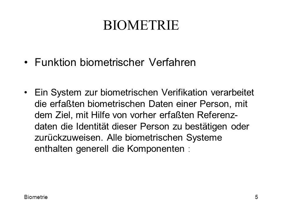 Biometrie5 BIOMETRIE Funktion biometrischer Verfahren Ein System zur biometrischen Verifikation verarbeitet die erfaßten biometrischen Daten einer Per