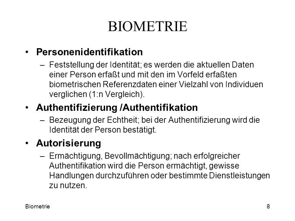 Biometrie8 BIOMETRIE Personenidentifikation –Feststellung der Identität; es werden die aktuellen Daten einer Person erfaßt und mit den im Vorfeld erfa