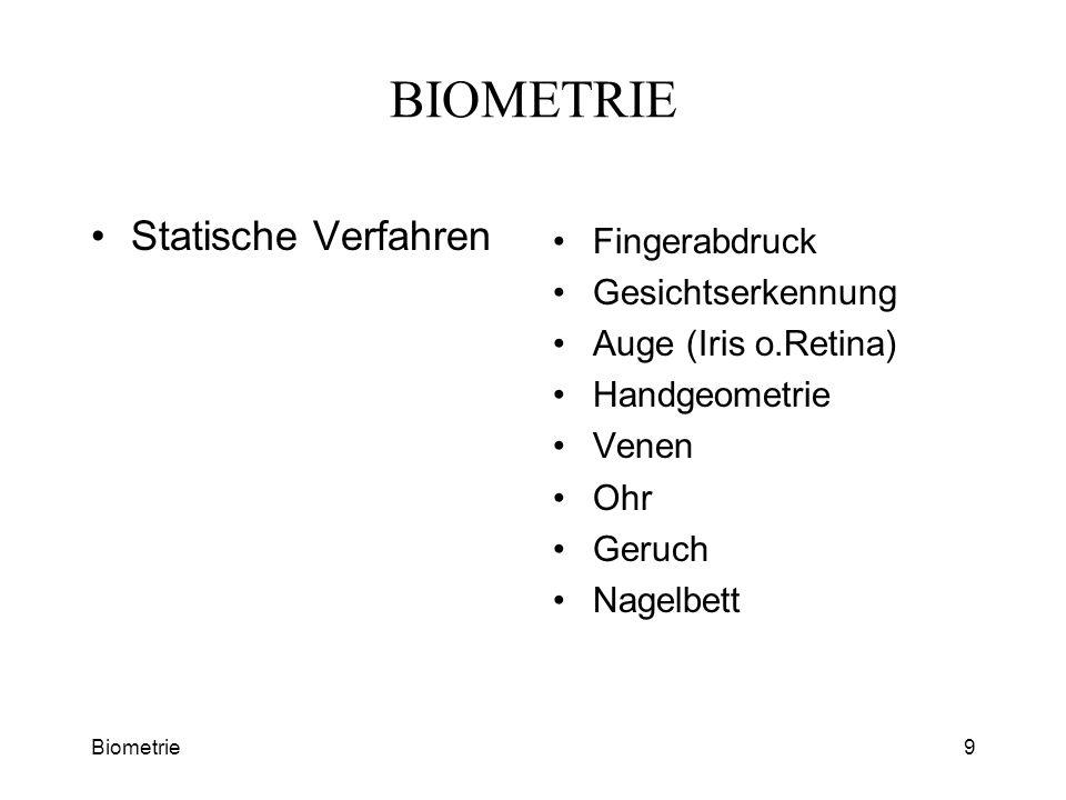 Biometrie9 BIOMETRIE Statische Verfahren Fingerabdruck Gesichtserkennung Auge (Iris o.Retina) Handgeometrie Venen Ohr Geruch Nagelbett