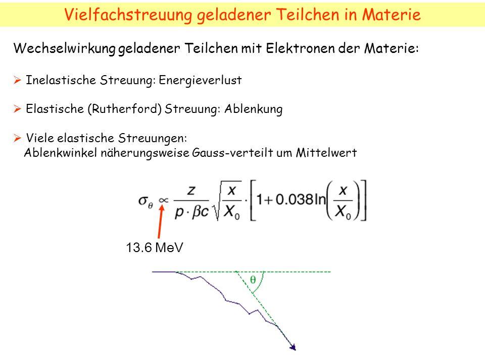 Vielfachstreuung geladener Teilchen in Materie 13.6 MeV Wechselwirkung geladener Teilchen mit Elektronen der Materie: Inelastische Streuung: Energieve