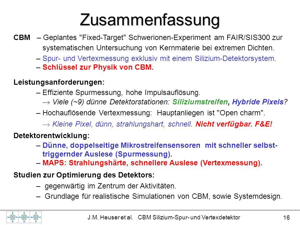 16 J.M. Heuser et al. CBM Silizium-Spur- und Vertexdetektor Zusammenfassung CBM – Geplantes