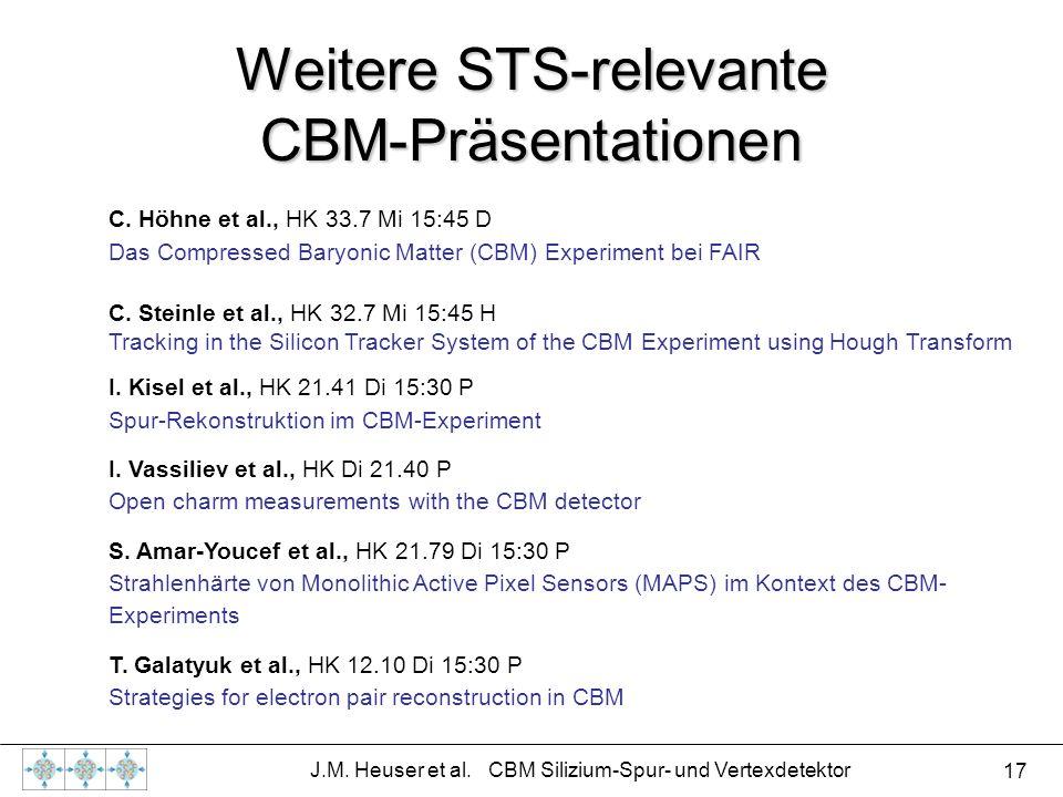 17 J.M. Heuser et al. CBM Silizium-Spur- und Vertexdetektor Weitere STS-relevante CBM-Präsentationen C. Höhne et al., HK 33.7 Mi 15:45 D Das Compresse