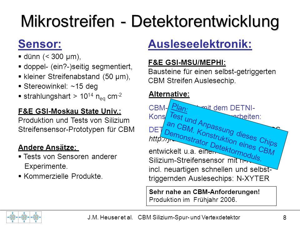 8 J.M. Heuser et al. CBM Silizium-Spur- und Vertexdetektor Mikrostreifen - Detektorentwicklung Sensor: dünn (< 300 µm), doppel- (ein?-)seitig segmenti
