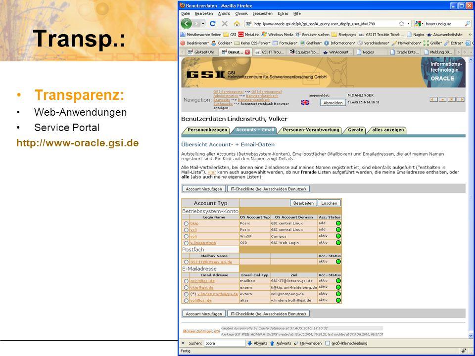 Transp.: Transparenz: Web-Anwendungen Service Portal http://www-oracle.gsi.de
