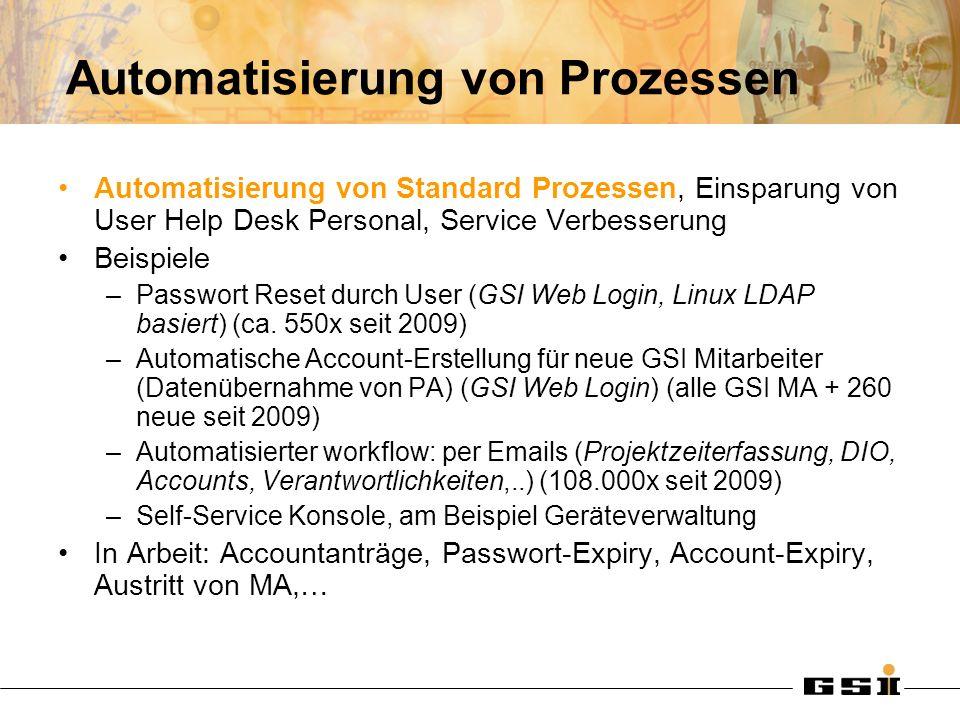 Automatisierung von Prozessen Automatisierung von Standard Prozessen, Einsparung von User Help Desk Personal, Service Verbesserung Beispiele –Passwort Reset durch User (GSI Web Login, Linux LDAP basiert) (ca.