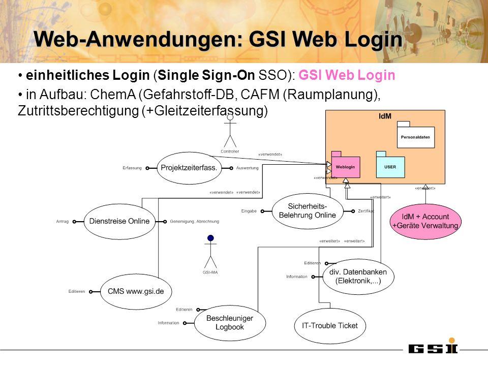 Web-Anwendungen: GSI Web Login einheitliches Login (Single Sign-On SSO): GSI Web Login in Aufbau: ChemA (Gefahrstoff-DB, CAFM (Raumplanung), Zutrittsberechtigung (+Gleitzeiterfassung)