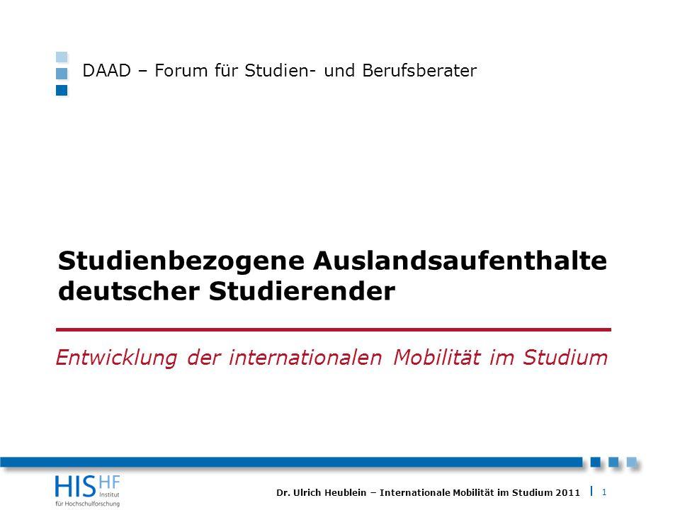 1 Dr. Ulrich Heublein Internationale Mobilität im Studium 2011 Studienbezogene Auslandsaufenthalte deutscher Studierender Entwicklung der internationa