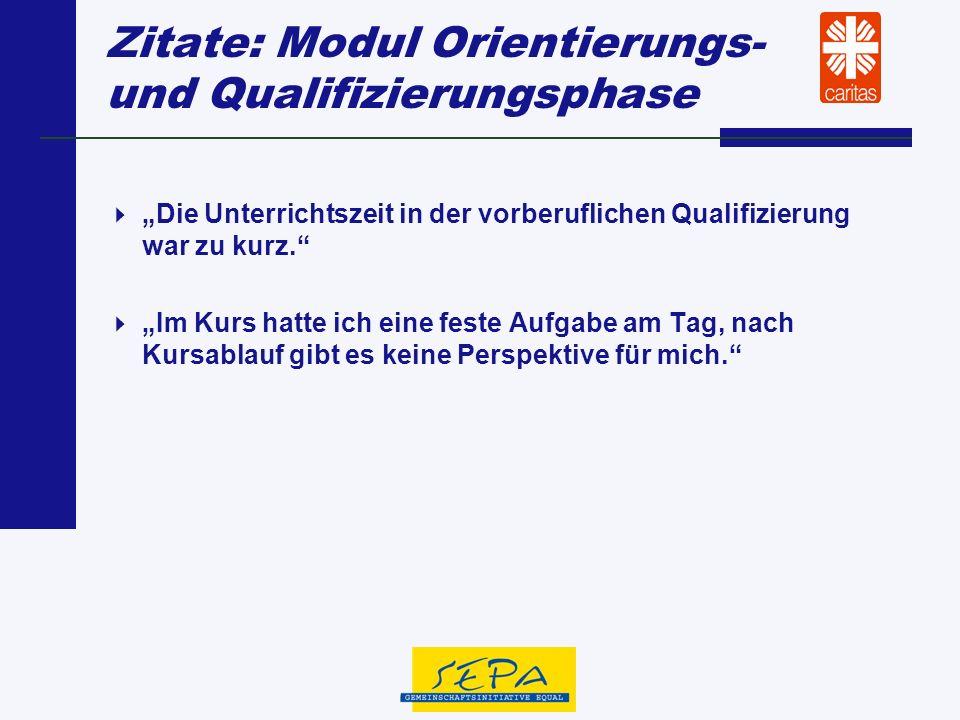Zitate: Modul Orientierungs- und Qualifizierungsphase Die Unterrichtszeit in der vorberuflichen Qualifizierung war zu kurz. Im Kurs hatte ich eine fes
