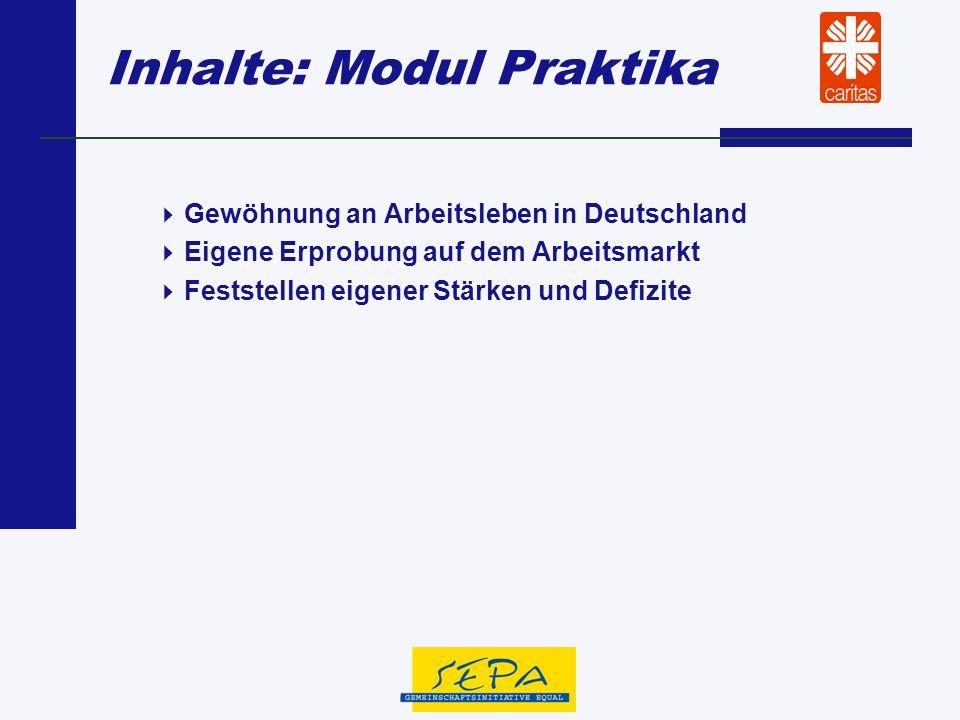 Inhalte: Modul Praktika Gewöhnung an Arbeitsleben in Deutschland Eigene Erprobung auf dem Arbeitsmarkt Feststellen eigener Stärken und Defizite