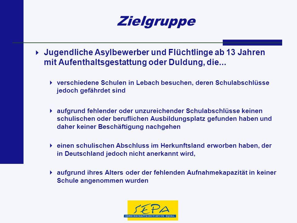 Zielgruppe Jugendliche Asylbewerber und Flüchtlinge ab 13 Jahren mit Aufenthaltsgestattung oder Duldung, die... verschiedene Schulen in Lebach besuche