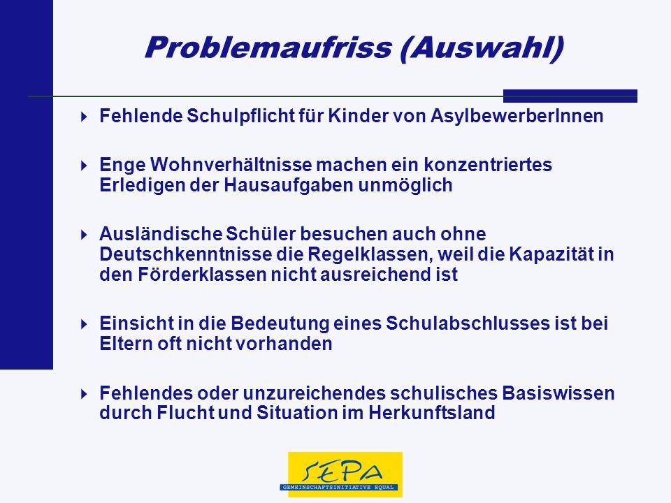 Problemaufriss (Auswahl) Fehlende Schulpflicht für Kinder von AsylbewerberInnen Enge Wohnverhältnisse machen ein konzentriertes Erledigen der Hausaufg