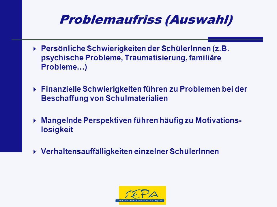 Problemaufriss (Auswahl) Persönliche Schwierigkeiten der SchülerInnen (z.B. psychische Probleme, Traumatisierung, familiäre Probleme…) Finanzielle Sch