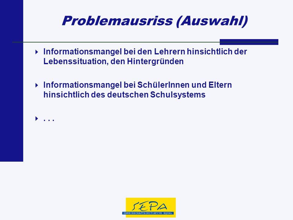 Problemausriss (Auswahl) Informationsmangel bei den Lehrern hinsichtlich der Lebenssituation, den Hintergründen Informationsmangel bei SchülerInnen un