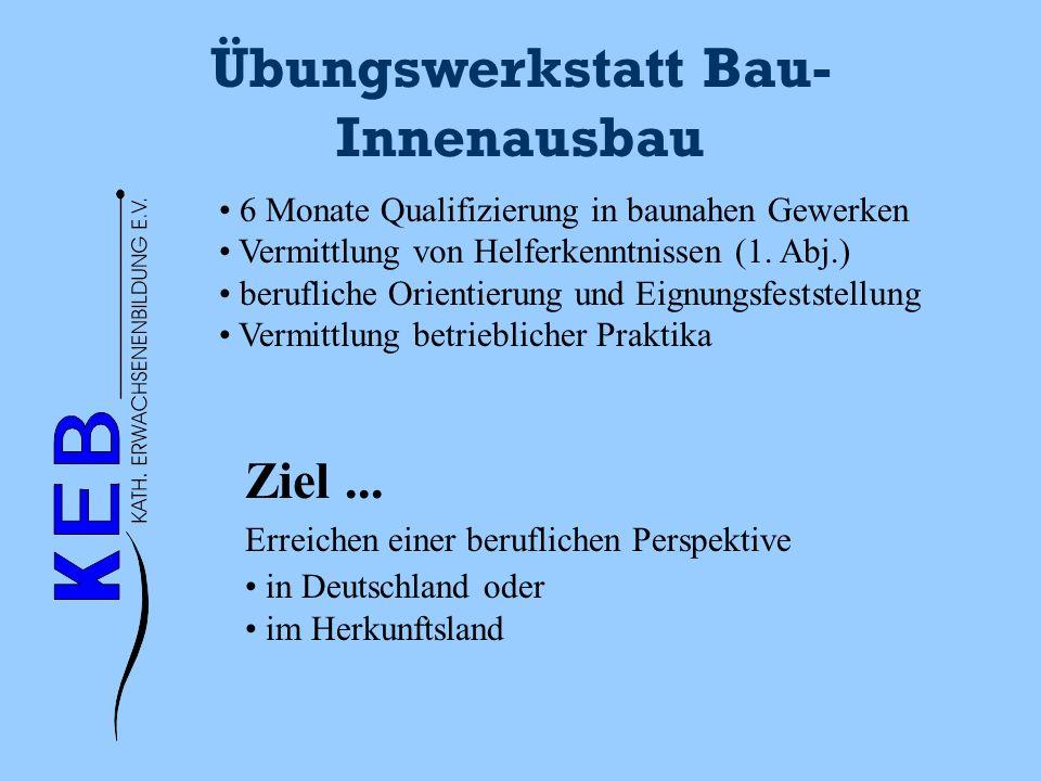 Übungswerkstatt Bau- Innenausbau 6 Monate Qualifizierung in baunahen Gewerken Vermittlung von Helferkenntnissen (1. Abj.) berufliche Orientierung und