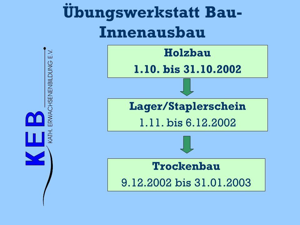 Übungswerkstatt Bau- Innenausbau Holzbau 1.10. bis 31.10.2002 Trockenbau 9.12.2002 bis 31.01.2003 Lager/Staplerschein 1.11. bis 6.12.2002