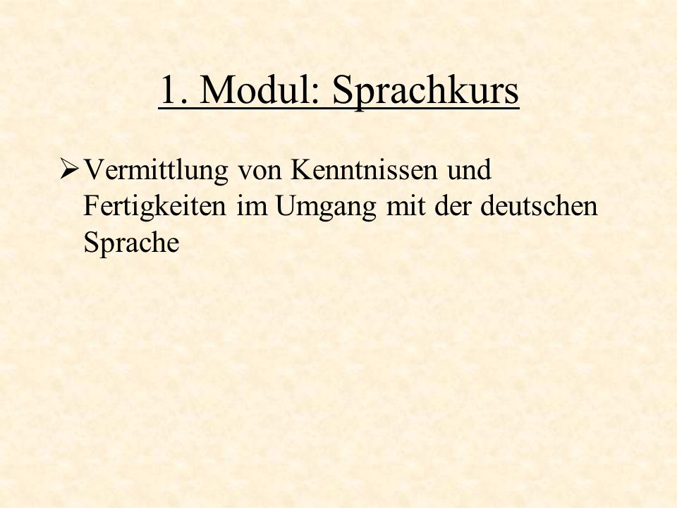 1. Modul: Sprachkurs Vermittlung von Kenntnissen und Fertigkeiten im Umgang mit der deutschen Sprache