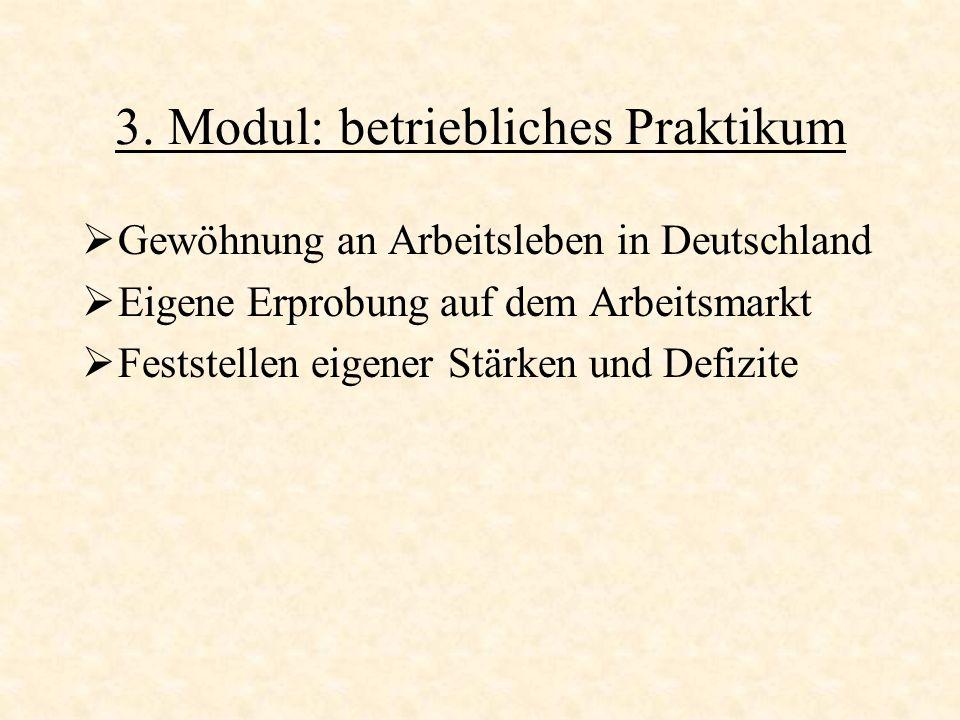 3. Modul: betriebliches Praktikum Gewöhnung an Arbeitsleben in Deutschland Eigene Erprobung auf dem Arbeitsmarkt Feststellen eigener Stärken und Defiz