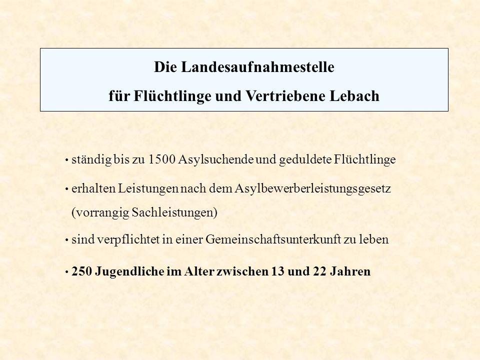 Die Landesaufnahmestelle für Flüchtlinge und Vertriebene Lebach ständig bis zu 1500 Asylsuchende und geduldete Flüchtlinge erhalten Leistungen nach de